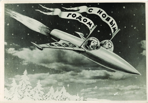 A 1960 postcard illustration of two Russian cosmo-dogs, Belka and Strelka, in their rocket. (Art: Sveshnikov. Photo: (c) FUEL Publishing)