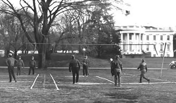 Herbert Hoover playing Hoover-ball in 1931. Hoover-ball was a hybrid of tennis, volleyball, and medicine ball that Hoover's doctor invented to keep him in shape. (Photo: The Herbert Hoover Presidential Library)
