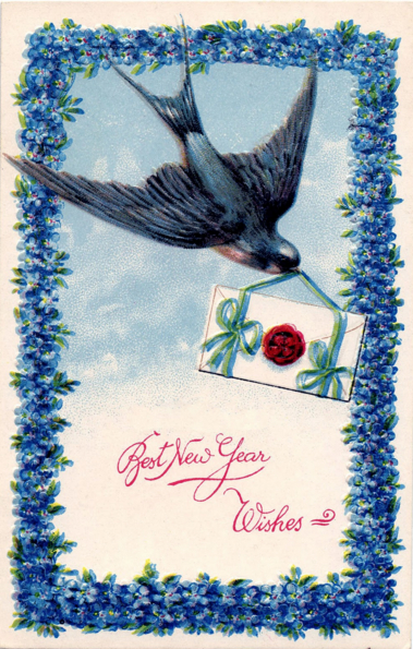 Vintage New Year's card featuring one of Mommyo's favorite birds. (Source: The Graphics Fairy)