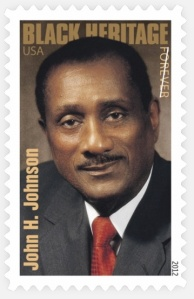 The John H. Johnson Forever stamp. (Photo via USPSstamps.com)