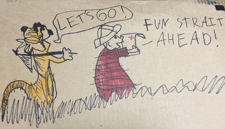 (Art: The Eight-Year-Old Howell after a cartoon by Bill Watterson. Cardboard box by Amazon. Photo: Shala Howell)