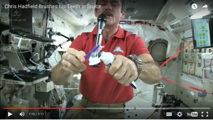 """(Image from """"Chris Hatfield Brushes His Teeth in Space"""" at Science Kids.)"""