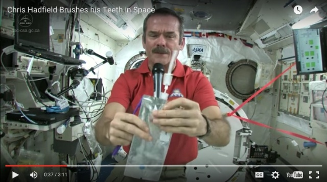 "(Image from the ""Chris Hatfield Brushes His Teeth in Space"" video at Science Kids)"