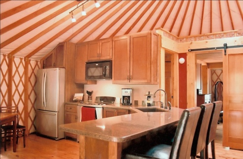 Kitchen in a 30' yurt from Pacific Yurts, Inc. (Photo: Pacific Yurts, Inc.)