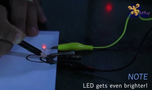 Screencapture from D Art of Science's tutorial on turning paper into an electric circuit. Watch the whole thing before you try this at home. (Source: D Art of Science)