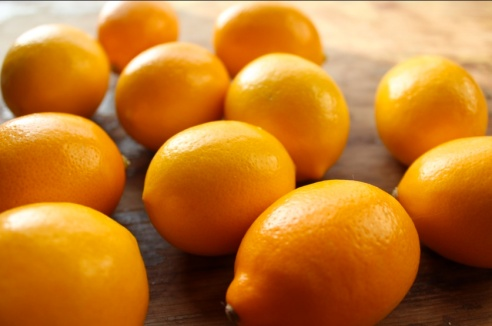 The Meyer lemon fruits in this photo are distinctly orange in color.
