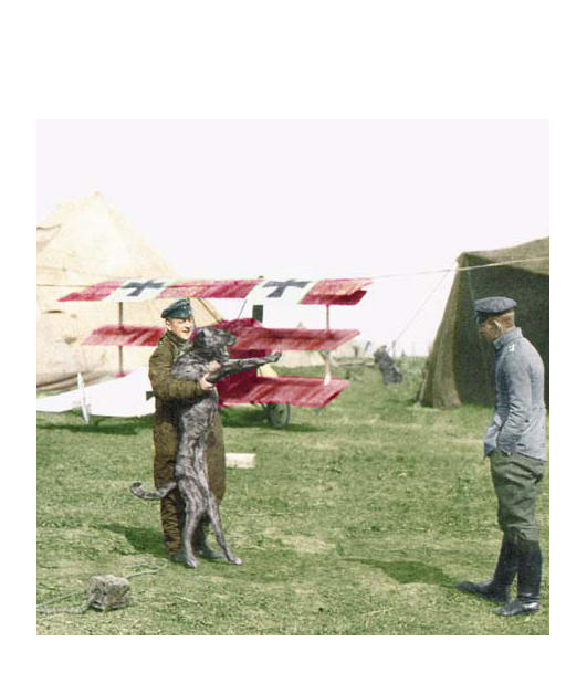 The Red Baron poses with Moritz in front of his plane shortly before taking off on his final mission. (Photo via Deerhound)