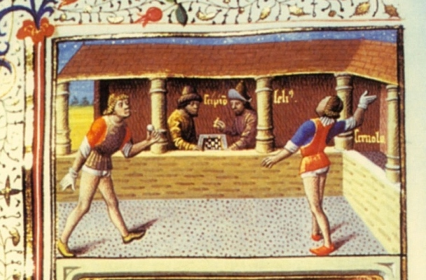 Illustration shows two men playing a version of tennis that doesn't use a net.