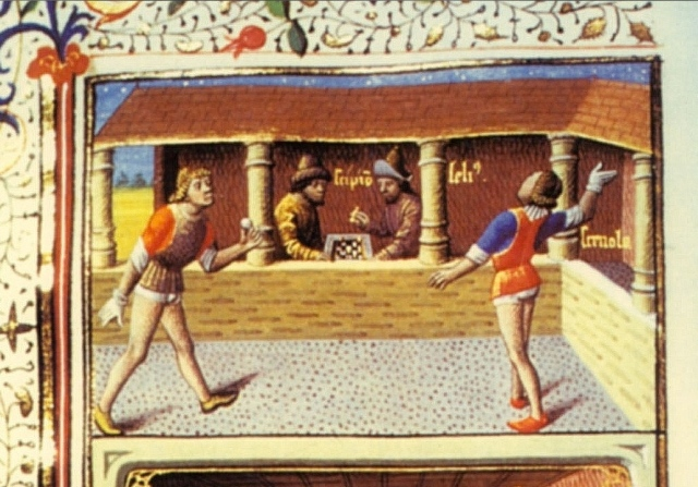 Medieval game of jeu du palme. (Illustration via W.U Hstry)