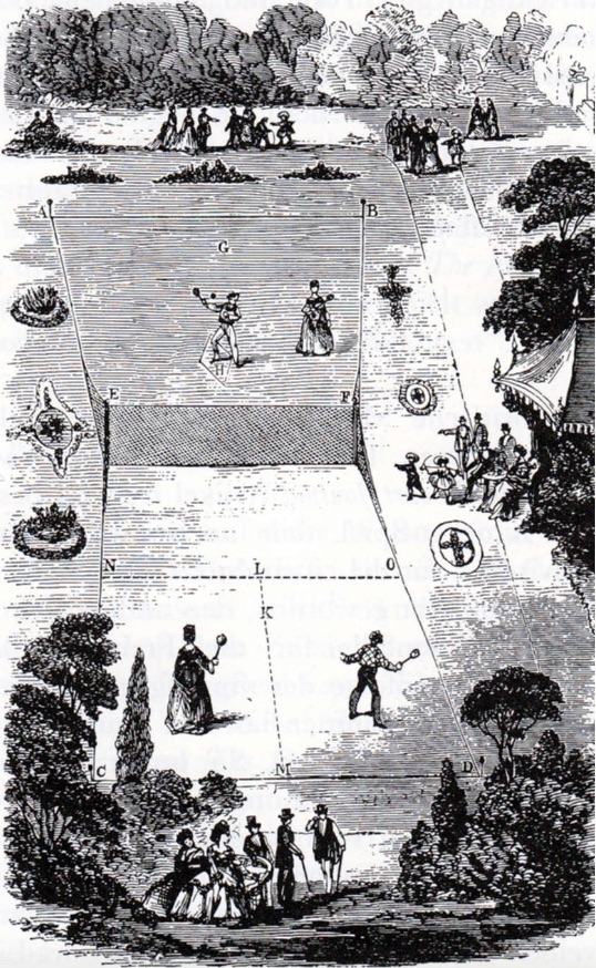 Major Walter Clopton Wingfield was one of at least three different sets of people to design an outdoor version of tennis in the 1870s. This 1874 drawing shows Wingfield's design for a Sphairistikè or lawn tennis court. Wingfield borrowed many terms for his lawn tennis game from the original French game, which by then was widely called real tennis. (Illustration: Major Walter Clopton Wingfield, 1874.)