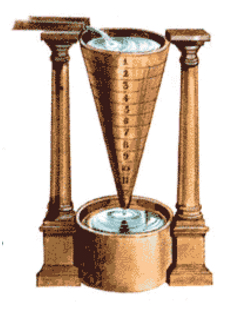Water clock with a long narrow bronze funnel marked in equal increments with numbers 1-12. The water drips out the bottom of the funnel into a basin. Water flows in the top of the funnel, presumably at a known rate.