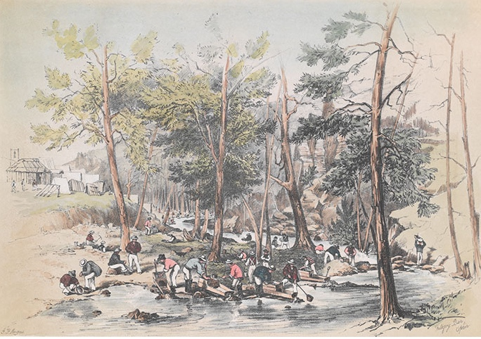Panning for gold in the Australian Gold Rush of 1851 (Print from drawing by George French Angas. National Library of Australia.)