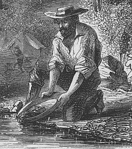 Prospector panning for gold in the Mokelumne River during the California Gold Rush. Illustration: Harper's Weekly, 1860. Public Domain.