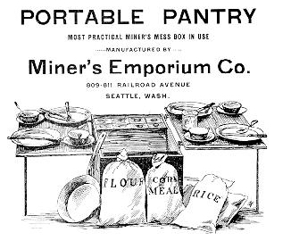 Advertisement for the Portable Pantry from the Miner's Emporium Co. (Source: Map-Guide: Seattle to Dawson, 1897, via the University of Washington Library)