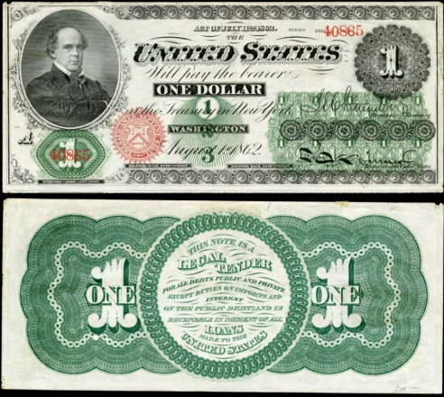 The 1862-1863 greenback literally had a green back -- as in the back of the dollar bill was printed entirely in green. The front featured black, red, and green ink. The version shown here, the $1 greenback, sported a portrait of Salmon P. Chase, who was Secretary of the Treasury at the time.