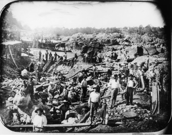 """""""Mining Scene on the American River, c 1852"""" by George Johnson. (Photo courtesy of"""