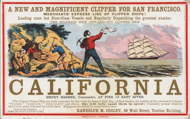 Sailing card for the clipper ship, California, commanded by Henry Barber. (Public Domain)