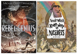 Book covers for Rebel Genius and Lunch Witch Knee-deep in Niceness
