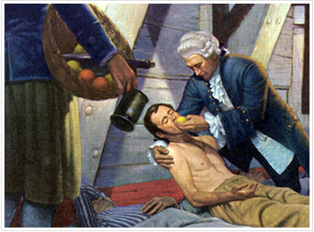 James Lind treating a sailor for scurvy. (Photo via What is Epidemiology?)