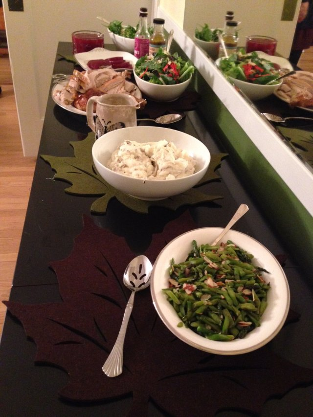 Visions of Thanksgivings Past: Beans, mashed potatoes, turkey, two kinds of cranberry sauce, and salad. (Photo: Shala Howell)