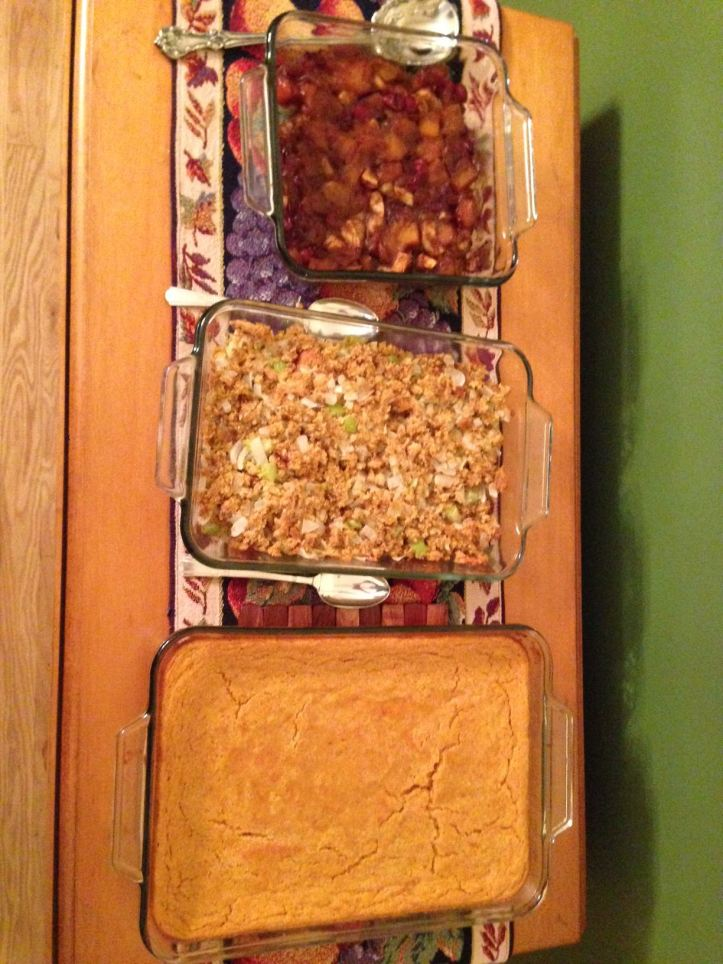More stuff we're not making this year: two kinds of stuffing and maize pudding. (Photo: Shala Howell)