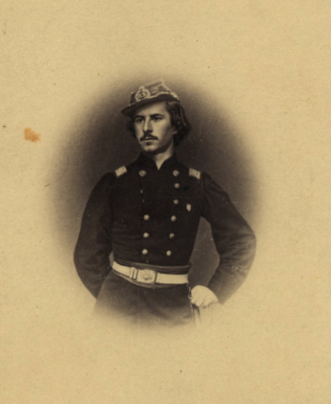 Cartes de visite were also used to mass produce inexpensive copies of famous photographs. This portrait by Matthew Brady of Elmer Ellsworth, the first Union casualty, was particularly popular. Union families often included it, along with a cartes de visite showing Abe Lincoln and his son Tad in their photo albums. (Photo: Matthew Brady, Elmer Ellsworth, Library of Congress Prints and Photographs)
