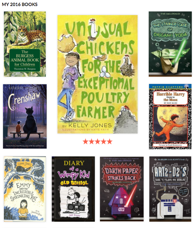 A sample of some of the books we read this year, from the Caterpickles 2016 Year in Books Report on Goodreads.