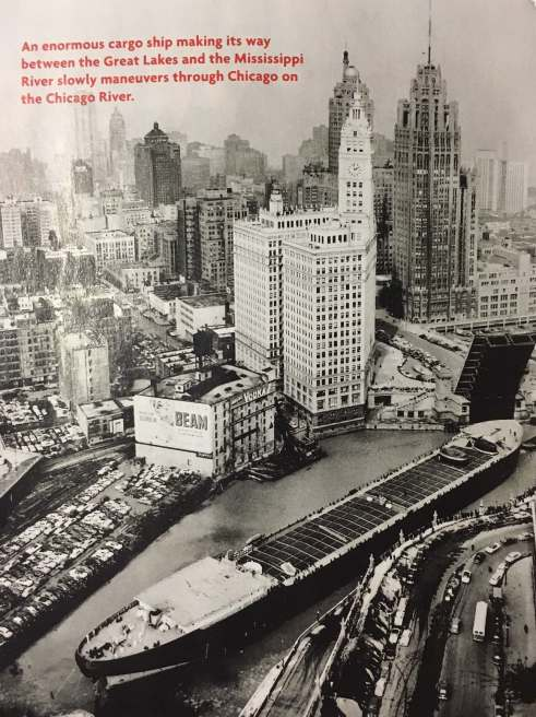 This picture from this month's issue of Cobblestone nearly broke my brain with its awesomeness. It really doesn't look like that cargo ship should be able to make that turn, but since its remains aren't clogging up the Chicago River today (as far as I know), I guess it must have. (Photo: Cobblestone)