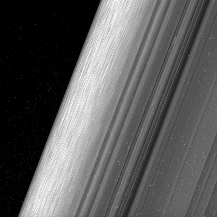Icy debris makes up the fine lines and striping in Saturn's B Ring. (Photo: NASA/JPL-Tech/Science Space Institute)