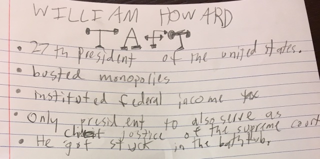 The Nine-Year-Old's notes on Taft. (Photo: Shala Howell)