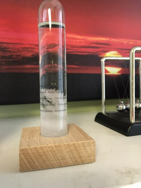 The same storm glass as it appeared on the morning of February 2, 2017. You can see the crystals have dissolved some. (Photo: Shala Howell)