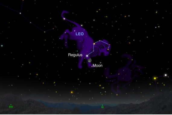 The moon will be right next to Regulus, the brightest star in the Leo constellation tonight. (Illustration: Andrew Fazekas of SkySafari)