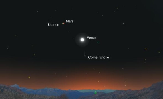 Mars and Uranus in a tete-a-tete tonight. No doubt gossiping about the much flashier Venus down below. (Illustration: Andrew Fazekas of Sky Safari)
