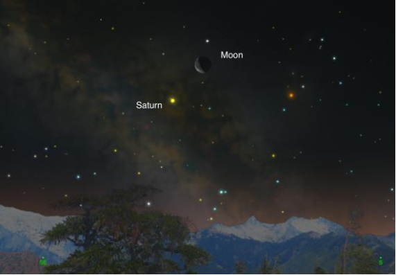 Saturn will follow the moon across the predawn sky on February 20-21. (Illustration: Andrew Fazekas, SkySafari)