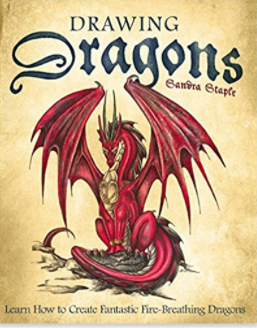 book cover for Drawing Dragons shows a fantastic deep red dragon with outstretched wings.