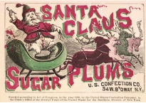 Vintage candy label shows santa clause in a green sled being pulled by one reindeer.