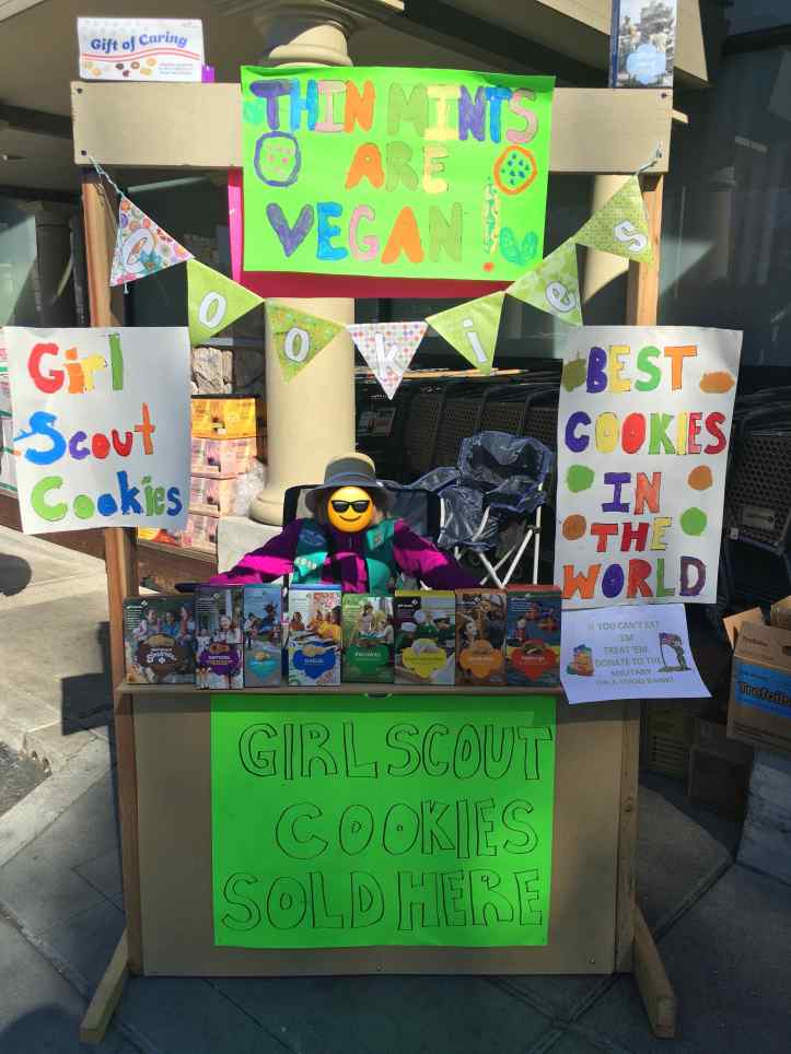 """The Ten Year Old selling cookies at the wooden lemonade-stand style cookie booth the local Boy Scout troop made a few years ago. The sign at the top reads """"Thin Mints are Vegan,"""" because that's how California rolls."""