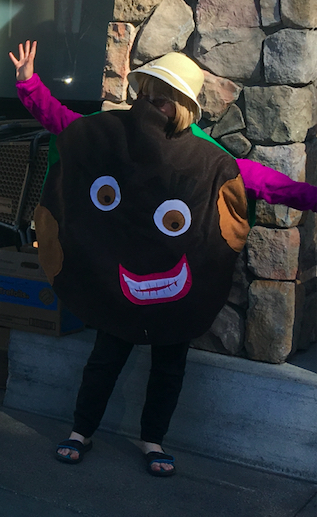 The Ten-Year-Old dressed up as a Thin Mint.
