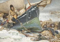 Oil painting showing John Franklin leaning on his boat, trapped in the Arctic ice and surrounded by the dead bodies of his crew.