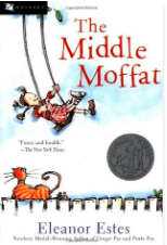 Cover for The Middle Moffatt by Eleanor Estes, it shows a little girl on a swing against a blue and white sky, being watched by a ginger cat on a fence