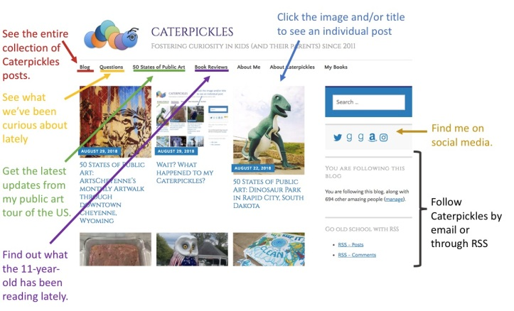 Snapshot of the new Caterpickles home page, along with instructions for navigating the various sections.