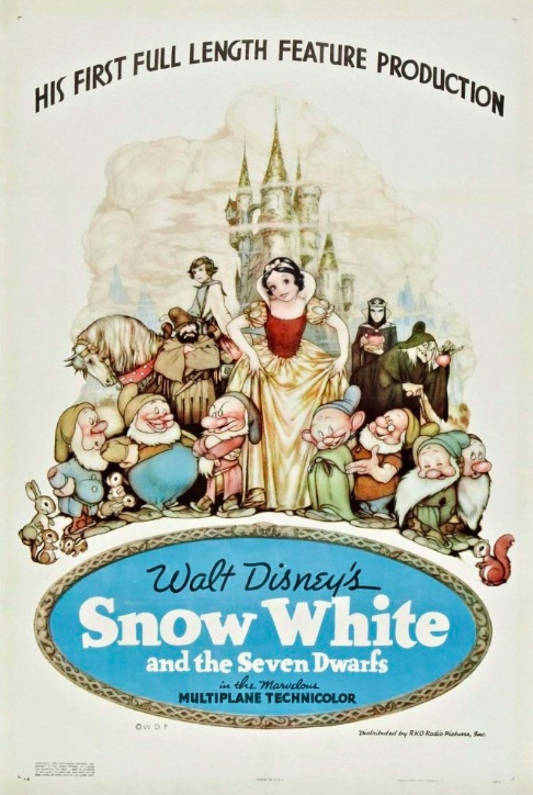 The movie poster for Snow White and the Seven Dwarfs shows Snow White, the 7 dwarfs, the evil queen, and the handsome prince arranged in a rough triangle in the foreground. A grey castle stands in the background. A blue oval at the bottom displays the movie title.