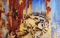 Susan Love's mural Wyoming Home shows horses in outline racing across a background of reds, tans, and blues.