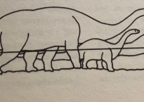 line drawing of several large and small sauropods underwater.