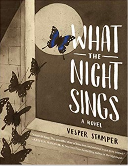 Book cover for What the Night Sings is mainly sepia and cream, except for one blue butterfly. The scene is a swarm of butterflies escaping out the window of a concrete room and flying across the face of the moon. Only the butterfly outside the window is blue. The rest are still sepia/black.