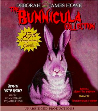 Book cover for Bunnicula shows a black and white rabbit with fangs in spooky lighting.