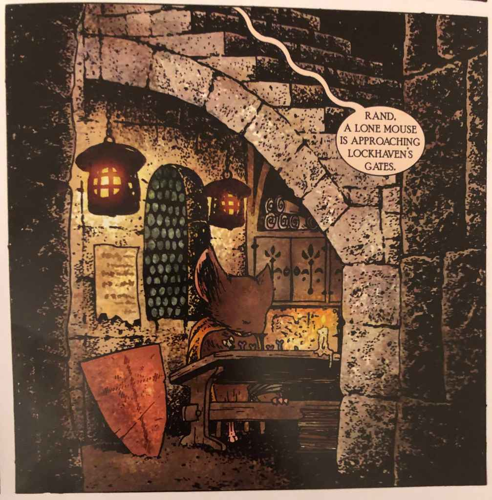 This illustration from Mouse Guard: Fall 1152 shows a mouse sitting in a nook under a set of concrete steps. The nook is lit by two hanging lamps, a cabinet holds scrolls in the back and the mouse himself is writing by candlelight.