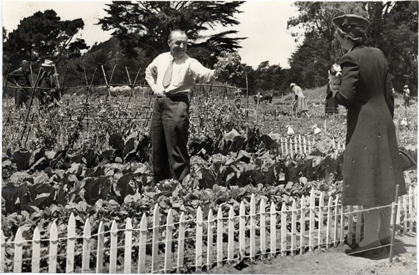 A man shows off his victory garden to a woman passing by in Golden Gate Park.