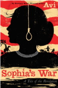 book cover for Sophia's War shows the profile of a girl against a red and cream striped background