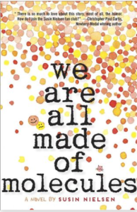 book cover for we are all made of molecules shows a spray of yellow, orange, and red polka dots against a white background.